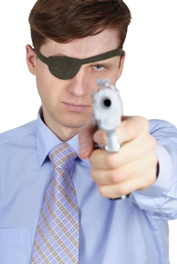 One-eyed robber threatens us with a pistol on white background