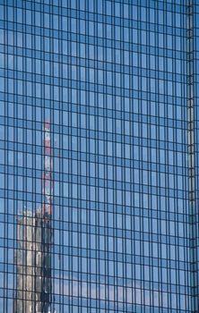 Facade of a modern skyscraper in Frankfurt, Germany
