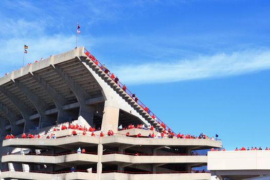 Camp Randall Stadium, University of Wisconsin, Madison fans heading into the stadium on game day