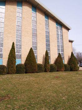 exterior of a modern brick church