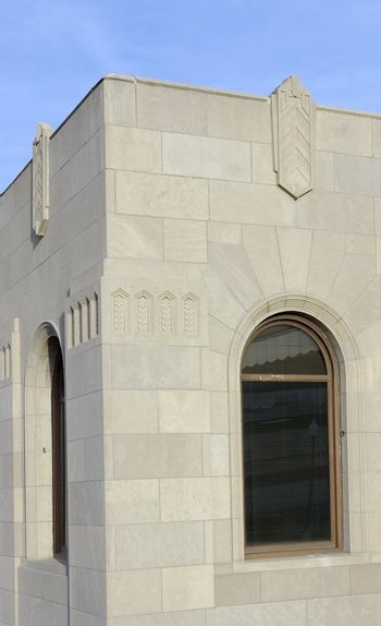 Architectural detail of an old art deco train depot