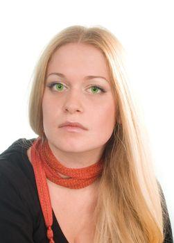 sad green-eyed blonde