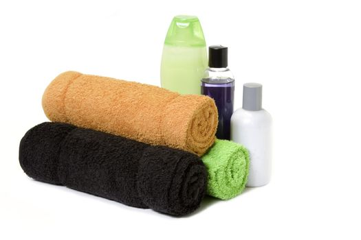 isolated towels and bath products