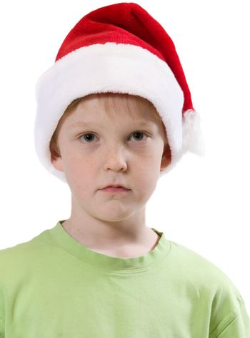 isolated child with santa hat and expression
