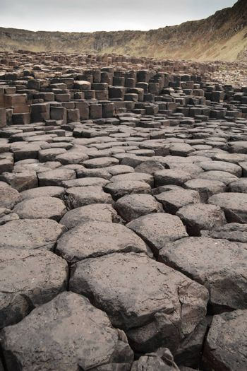 Wide view of Giant's Causeway rock formations