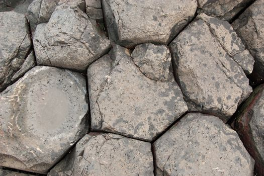 Close up view of Giant's Causeway rock formations