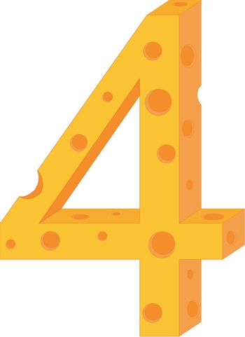 Vector cheese numeral four