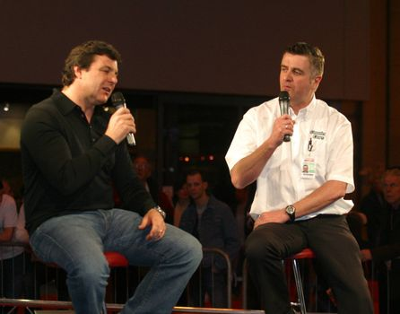 Mark Blundell and  Martin Donnelly talk at the Autosport show at the NEC Birmingham, 13/01/08