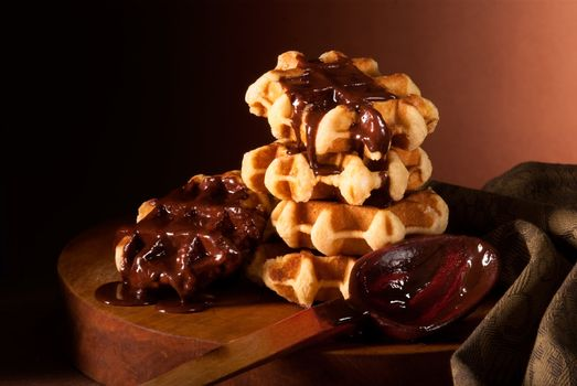chocolate syrup and Belgian waffles