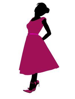 Prom Girl Illustration Silhouette