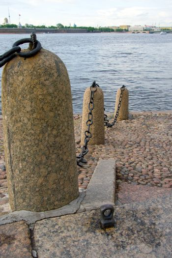 River embankment with wharf chain