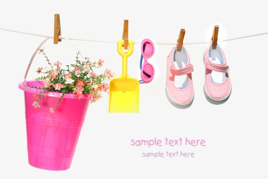 Pail,sunglasses and shoes for child