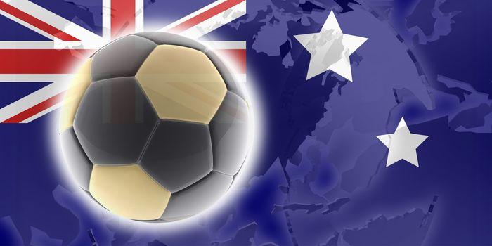 Flag of Australia, national country symbol illustration sports soccer football