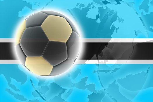 Flag of Botswana, national country symbol illustration sports soccer football
