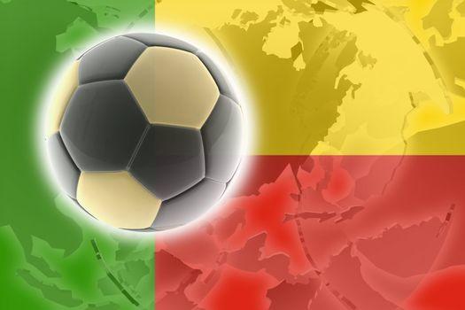 Flag of Benin, national country symbol illustration sports soccer football