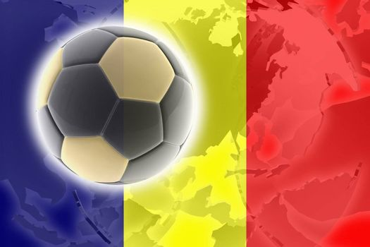 Flag of Chad, national country symbol illustration sports soccer football