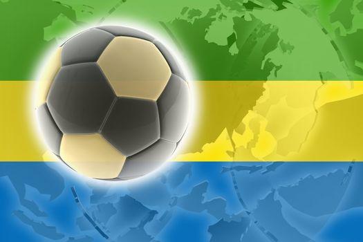 Flag of Gabon, national country symbol illustration sports soccer football