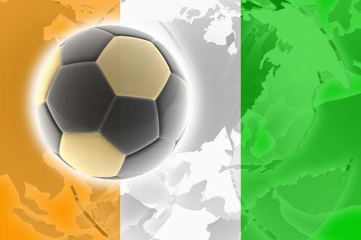 Flag of Ivory Coast, national country symbol illustration sports soccer football