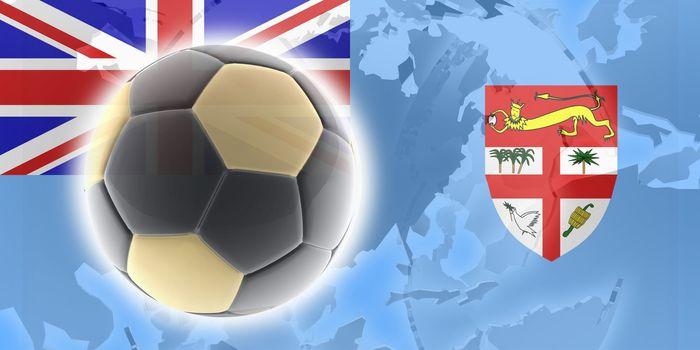 Flag of Fiji, national country symbol illustration sports soccer football