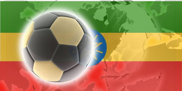 Flag of Ethiopia, national country symbol illustration sports soccer football