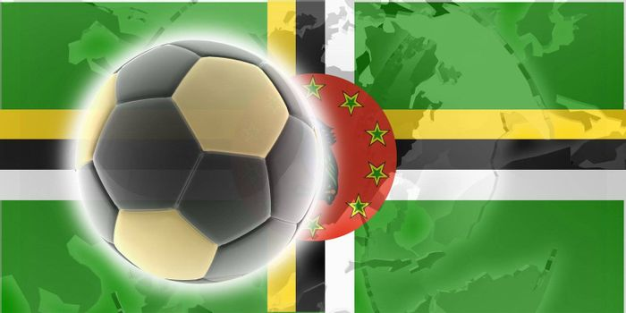 Flag of Dominica, national country symbol illustration sports soccer football