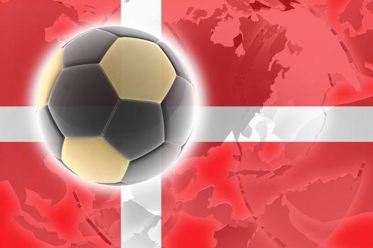Flag of Denmark, national country symbol illustration sports soccer football
