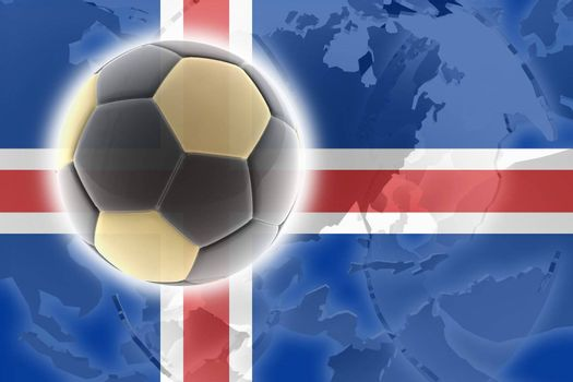 Flag of Iceland, national country symbol illustration sports soccer football
