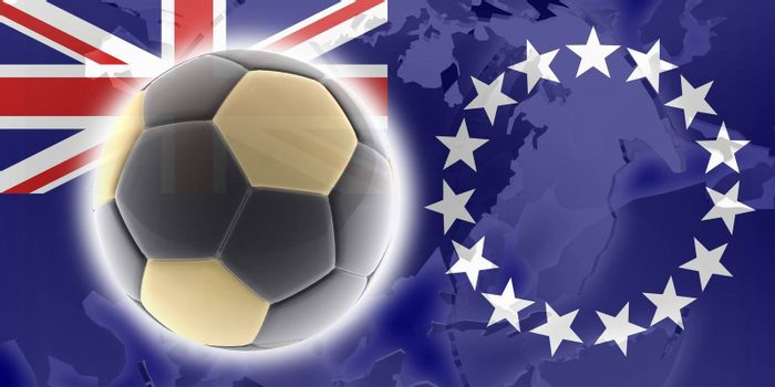 Flag of Cook Islands, national country symbol illustration sports soccer football