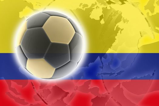 Flag of Colombia, national country symbol illustration sports soccer football