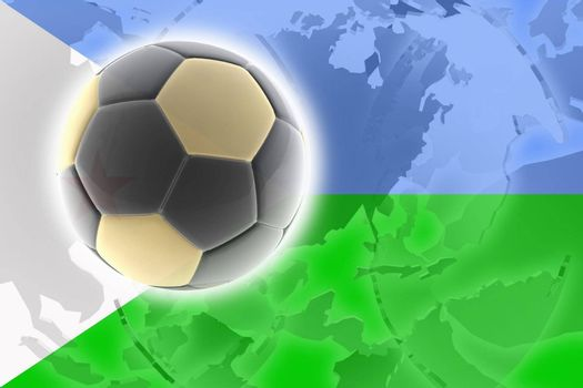 Flag of Djibouti , national country symbol illustration sports soccer football