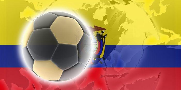 Flag of Ecuador, national country symbol illustration sports soccer football
