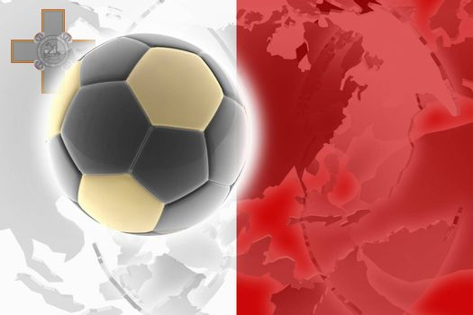 Flag of Malta, national country symbol illustration sports soccer football
