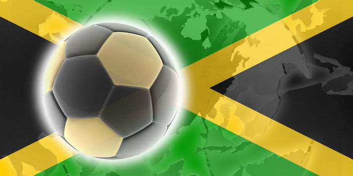 Flag of Jamaica, national country symbol illustration sports soccer football