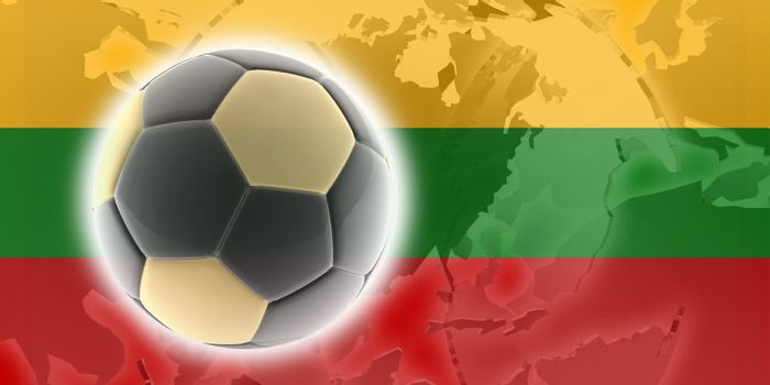 Flag of Lithuania, national country symbol illustration sports soccer football