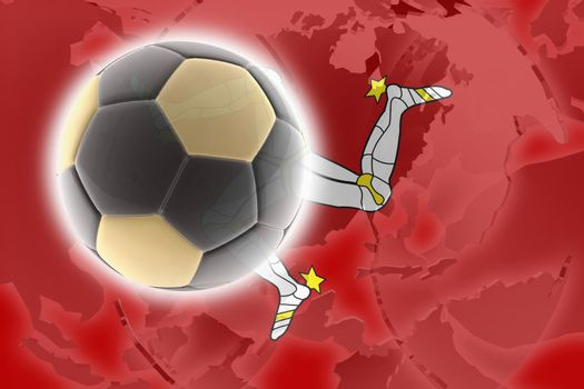 Flag of Isle of Man, national country symbol illustration sports soccer football