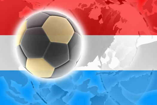 Flag of Luxenbourg, national country symbol illustration sports soccer football