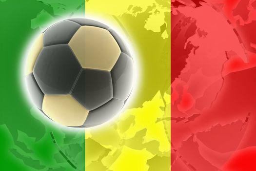 Flag of Mali, national country symbol illustration sports soccer football