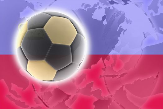 Flag of Lichenstein, national country symbol illustration sports soccer football