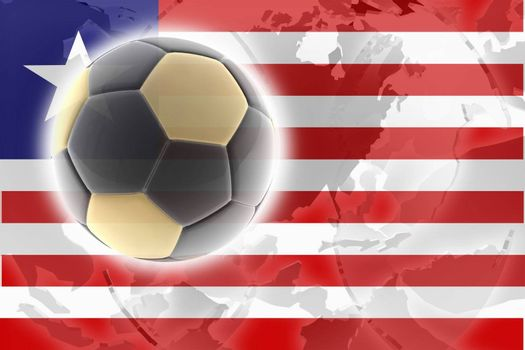 Flag of Liberia, national country symbol illustration sports soccer football