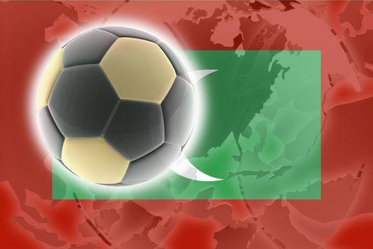 Flag of Maldives, national country symbol illustration sports soccer football