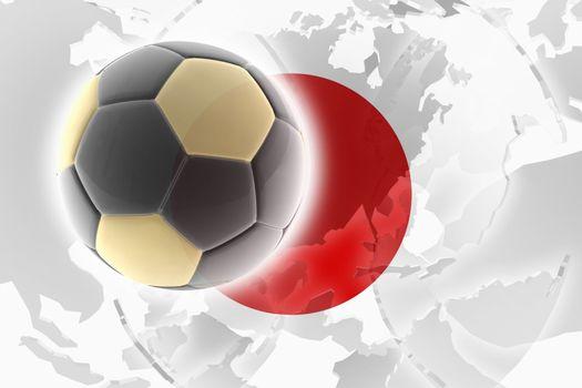 Flag of Japan, national country symbol illustration sports soccer football