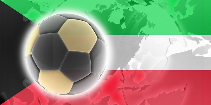 Flag of Kuwait, national country symbol illustration sports soccer football