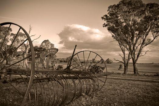 plough in sepia