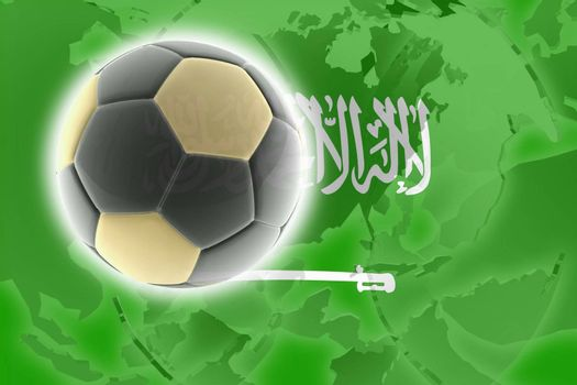 Flag of Saudi Arabia, national country symbol illustration sports soccer football