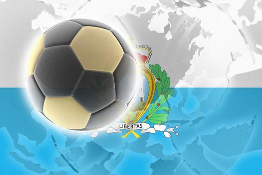 Flag of San Marino, national country symbol illustration sports soccer football