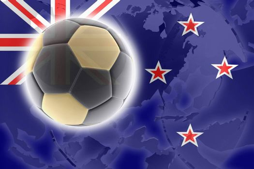 Flag of New Zealand, national country symbol illustration sports soccer football