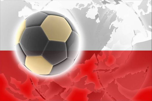 Flag of Poland, national country symbol illustration sports soccer football