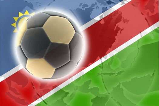Flag of Namibia, national country symbol illustration sports soccer football