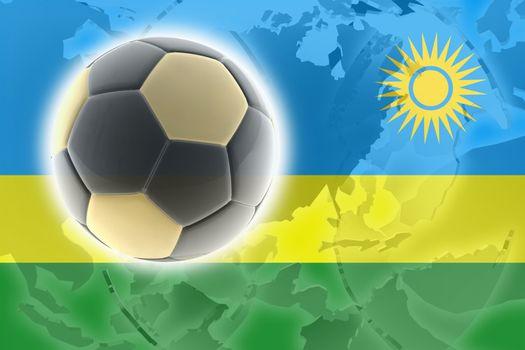 Flag of Rwanda, national country symbol illustration sports soccer football