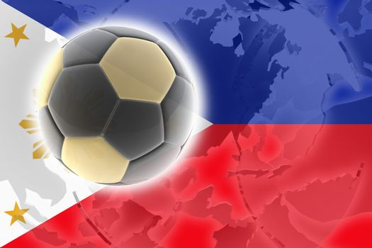 Flag of Philippines, national country symbol illustration sports soccer football